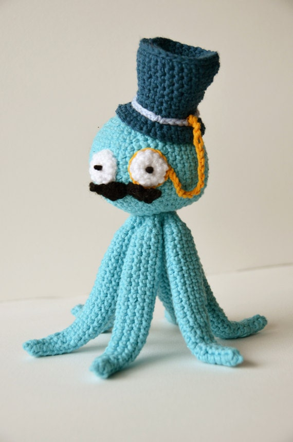 Octopus Like A Sir Crochet Pattern, Steampunk Octopus Amigurumi, Fancy Octopus Crochet Pattern, Amigurumi Octopus Pattern, Animal Crochet