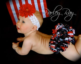 Parley Ray Stars and Stripes Patriotic Independence Day 4th of July Flag Ruffled Diaper Cover/ Baby Bloomers/ Photo Prop