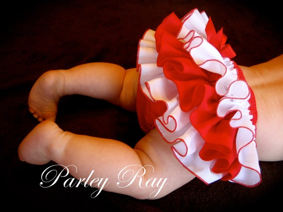 Beautiful Parley Ray Valentine's Day Red and White Ruffled Baby Bloomers/ Diaper Cover / Photo Props