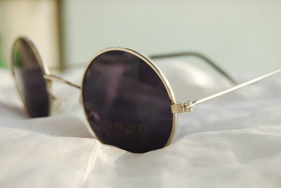 Vintage Deadstock Round Sunglasses - Silver Metal Frame Black Lens - John Lennon - 90s Small Circle Glasses -Metal