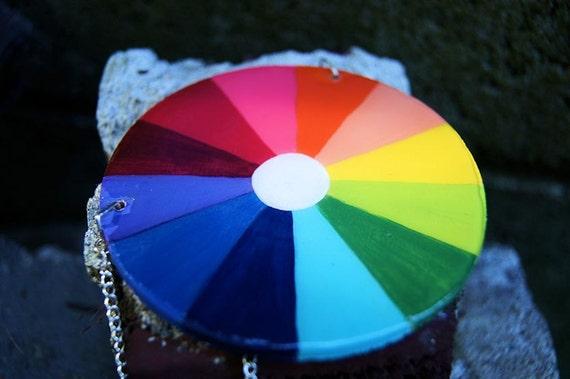 Go-Go Color Wheel, handpainted color wheel necklace.