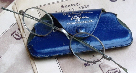 Vintage Wire Frame Eyeglasses Round Lens with Case Spectacles Steampunk