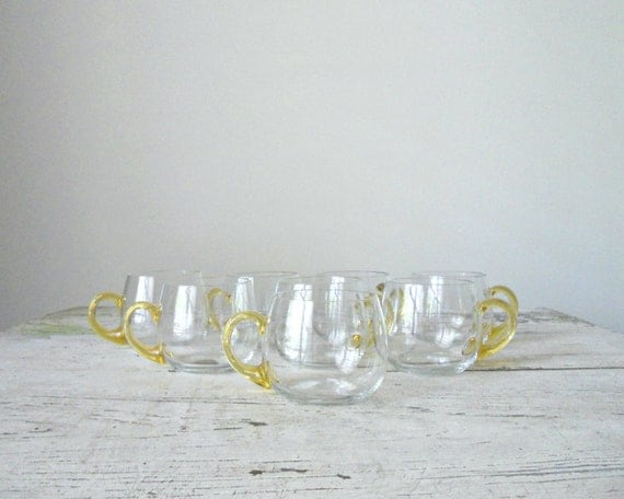Vintage Punch Bowl Cups - Hand Blown Glass, Yellow, Entertaining
