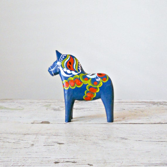 "Vintage Dala Horse - 5"", Sweden, Nils Olsson, Blue Dala"