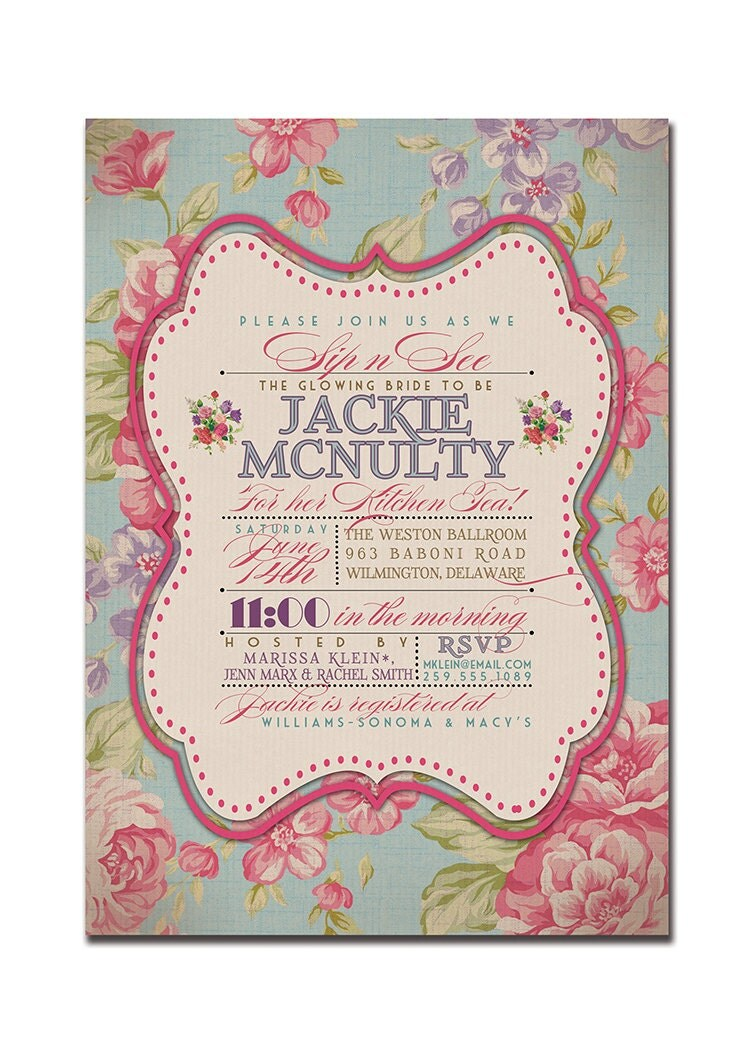 Kitchen tea bridal shower invitation rustic wedding invitation for Bridal shower kitchen tea ideas fashion