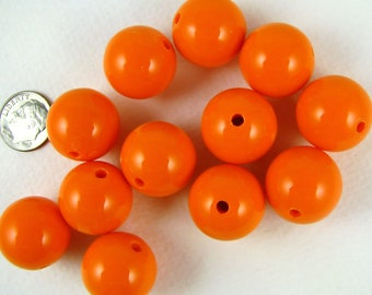 20 gumball beads, 20mm round ORANGE bubblegum beads, chunky beads