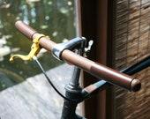 bicycle handlebar(round tip at both ends) - leather grips, hand stitching - round tip at both ends - solid TEAK wood-genuine leather