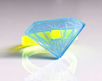 Fluor yellow - Blue acrylic Diamond Ring