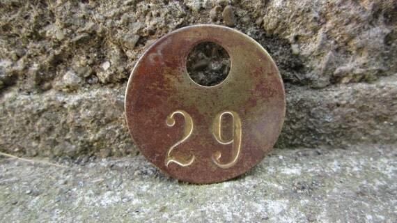 Antique Original Brass Mining Tag Number 29 Vintage Token Coal Mining Pit Checks