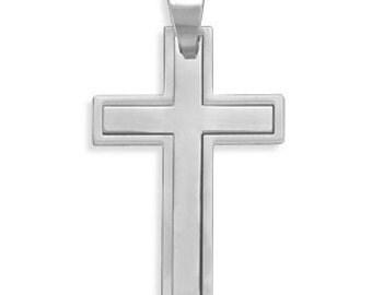 MENS 2 Pc. 316L Stainless Steel Cross Pendant