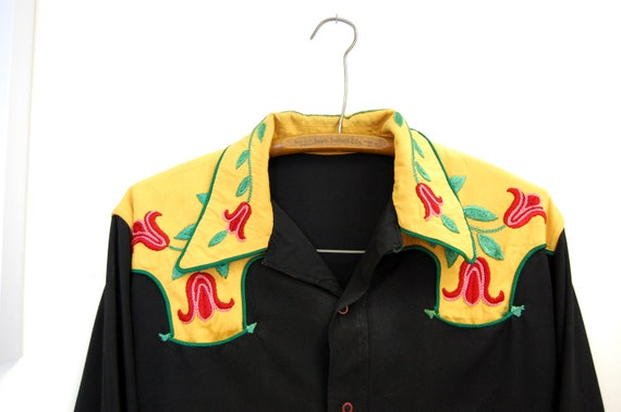 """Vintage 1950s or 60s Men's Rockabilly Embroidered Shirt X-Large (46"""" Chest)"""