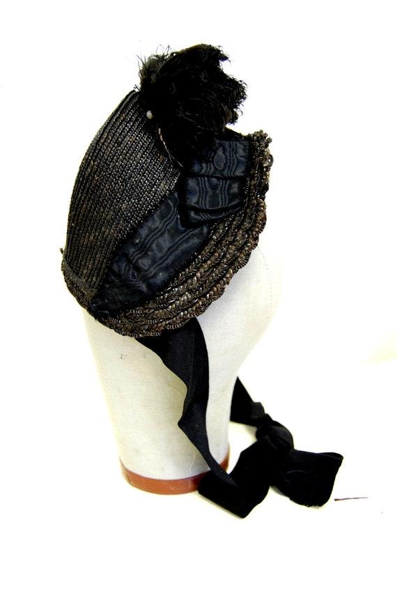 Late 1800s Antique Vintage Women's Bonnet Hat Black with Feathers Steampunk Victorian