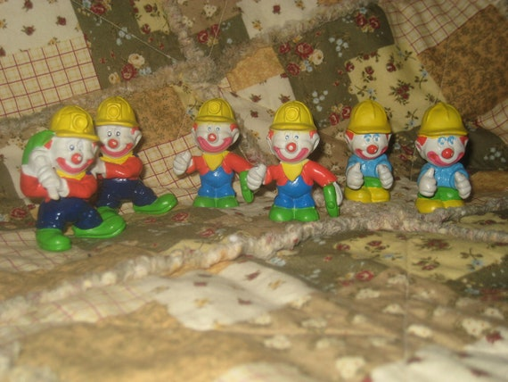 "Vintage 1980's MEGO Clown Around ""Hard Hat Clowns"" Set of 6 Figures"