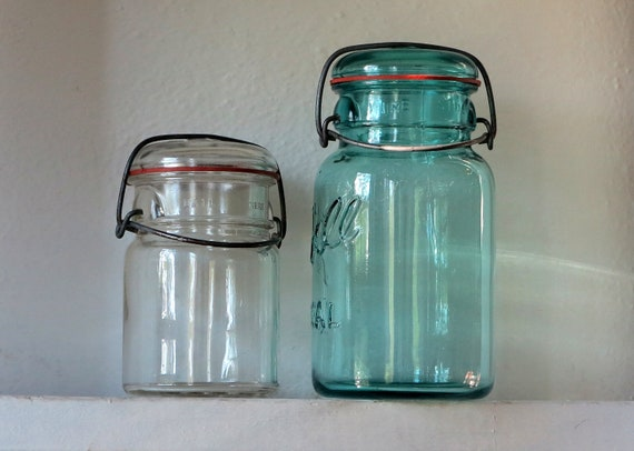 Antique Ball Blue IDEAL & ATLAS Mason Canning Jars With Convex Glass Lids