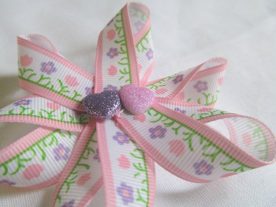 Flower and Hearts Ribbon Hair Clip