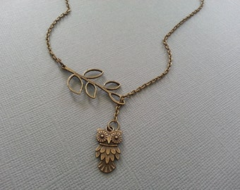 Antique Brass Lariat Style Owl Necklace