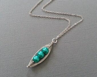 Ocean Blue Pearl Peas in a Pod Necklace