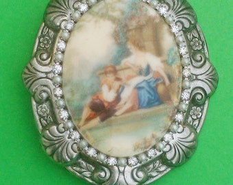 Vintage 1930s Cameo Brooch Pin Limoges Estate Jewelry