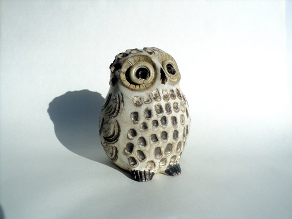 Owl Figure Stoneware Coin Bank, Beige, Brown, Pottery, Clay, Bird Figurine by unknown artist, 1970's