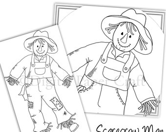 Fall Stamp, Scarecrow Stamp, Digital Stamp, Instant Download