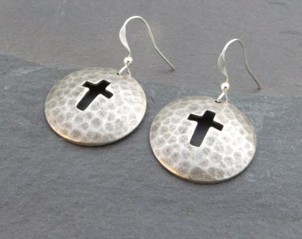 Hammered Cross Disc Earrings in Ox Silver