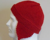Earflap Hat, Red Trapper Hat, Hand Knit Winter Hat, Red Ear Flap Hat, Wool Hat, Warm Winter Hat, Red Chullo, Gender Neutral Andean Hat