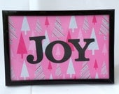 JOY, Framed Christmas Art, Wall Art, Table Top Sign, Christmas Decor, Holiday Decor, Pink Christmas Art, Holiday Wall Decor, Ready to Ship