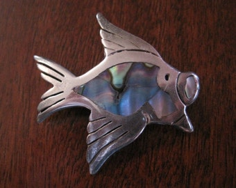 Vintage Sterling and Abalone Fish Brooch