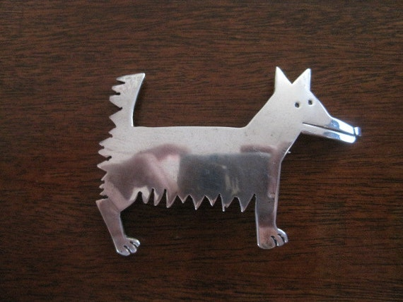 Vintage Sterling Silver Puppy Dog Brooch. Mexico