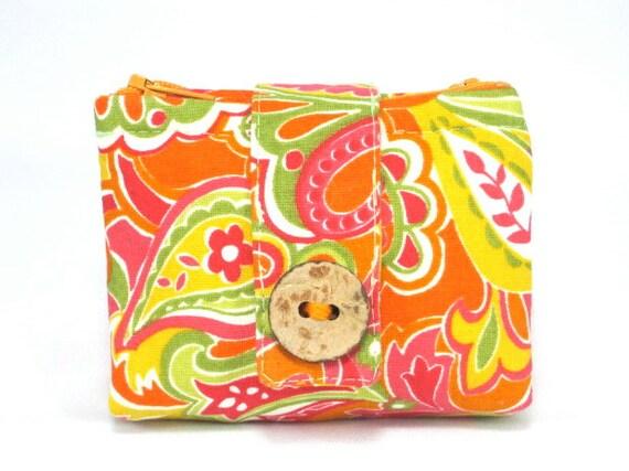 Coin Purse, Wallet, Zipper Pouch, Orange, Pink, Yellow, Green
