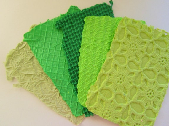 Handmade Paper Recycled Green Texture