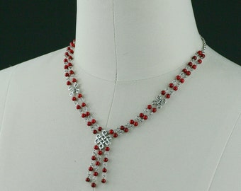 Red coral bead lariat necklace Bridesmaid gifts Free US Shipping handmade Anni designs