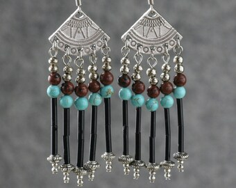 Turquoise agate dangling chandelier earrings Bridesmaids gifts Free US Shipping handmade Anni Designs