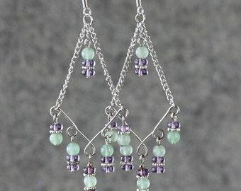 Green jade lavendar dangling Chandelier Earrings Bridesmaid gifts Free US Shipping handmade Anni designs