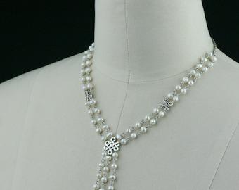 Pearl beaded choker irish knot necklace Bridesmaid gifts Free US Shipping handmade Anni designs