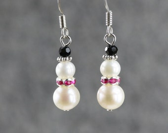 5.99-9.99 dollars Chirstmas snowman pearl drop earrings Free US Shipping handmade Anni Designs