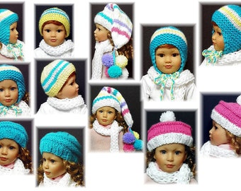 Bulky Knitted 5 Hats and a  scarf PATTERN for 18 inch Kidz N Cats  Sent PDF Format