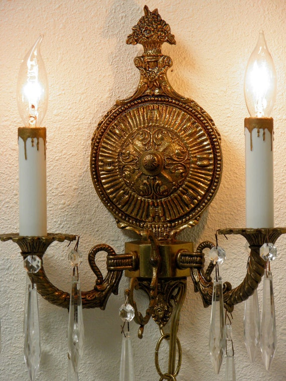 Vintage Sconces PAIR Electric Brass Spanish Artistry Crystal Prisms Art Nouveau Detailing Beautiful Oh soooo Romantic