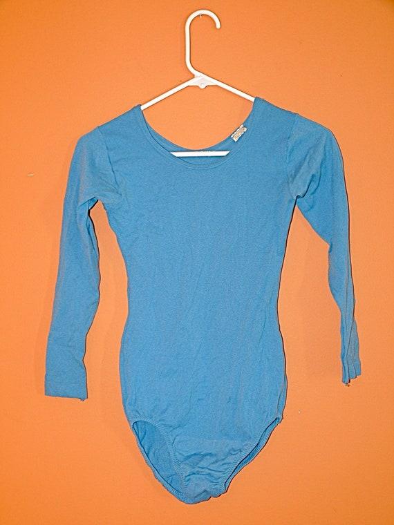 Cornflower Blue Leotard by Danskin 1980s Size Medium Dance Bodysuit Long Sleeves