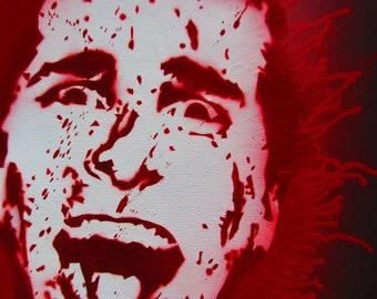 American Psycho - Christian Bale Bloody original stencil street art on canvas