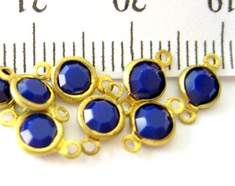Navy Blue opaque crystal connectors brass 2 rings channel set 10 pieces-designer jewelry supplies findings components