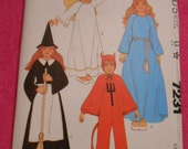 McCalls 7231, witch, angel, queen, devil, costumes, size:  10/12