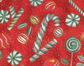 Cotton Fabric Christmas Candy Print Red  Beautiful Fabric 1/4 yard Candy Canes, Ribbon Candy, Peppermints