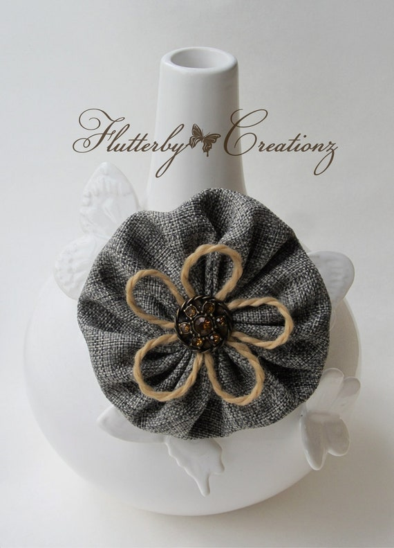 Textured Woven Fabric YoYo Flower Clip/Pin Combo - Black, Tan, Grey with Yarn and Decorative Button