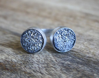 Double Titanium Druzy Bypass Sterling Silver Ring (adjustable)
