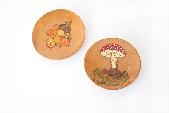 Mushroom and Fruit Wooden Wall Plaques Pair Vintage Kitchen Wall Decor Farmhouse Cottage