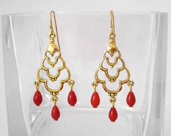 Victorian Scallop Chandelier Earrings with Red Coral Teardrops