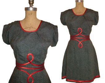 SALE 1940s Style Gray Tweed Dress with Neat Red Loopy Details Made from Vintage Pattern size Small Ready to Ship