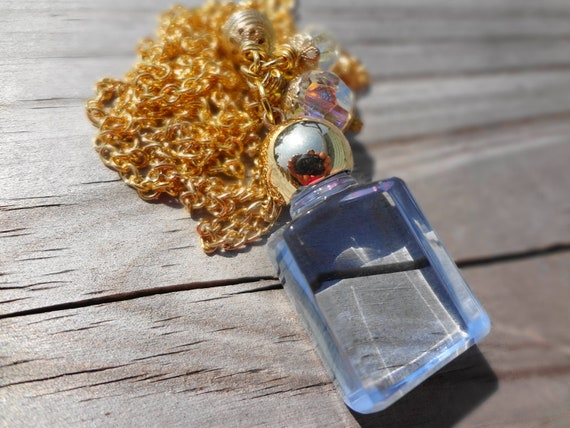 Vintage Blue Bottle Necklace with Vintage Glass Beads OAAK Necklace