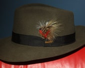 Vintage Royal Stetson Moss Downs Wool Fedora w/Red & Brown Feather Accent (ITEM- MA102)